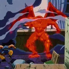 Су Шинрон пробивает потолок и вламывается в комнату где прячется Гоку
