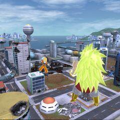 Легендарный Супер Сайян 3 Броли в бою с Супер Сайяном 2 Гоку (3) (<i>Raging Blast</i>)