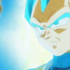 Супер Сайян Голубой Веджета перед Золотым Фризой