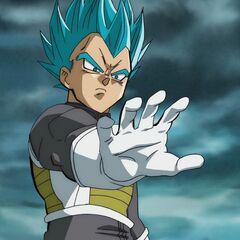 Супер Сайян Голубой Веджета готовится заряжать энергетическую атаку чтобы убить Фризу, после отката