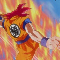 Супер Сайян Бог Гоку отбрасывает Бируса размашистым ударом ноги