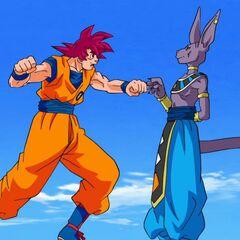 Гоку испытывает силы Супер Сайяна Бога в бою с Бирусом