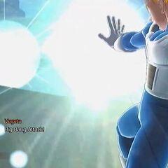 Супер Сайян Веджета выстреливает Атаку Большой Взрыв в