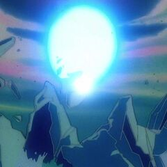 Генки Дама поглощается Супер Сайяном Гоку и уничтожает континент
