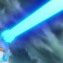 Супер Сайян Голубой Гоку выстреливает Камехамеха