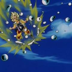 Супер Сайян 2 Гоку отражает атаку Мега Риллда