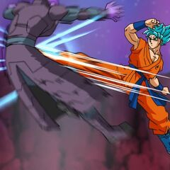 Супер Сайян Голубой Гоку наносит Хиту мощный удар ногой