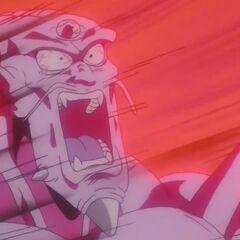 Десятикратное Камехамеха усиленного Супер Сайяна 4 Гоку попадает в Йи Шинрона