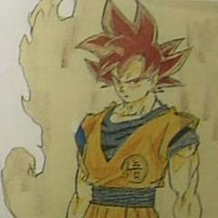 Ранний рисунок Супер Сайяна Бога Гоку