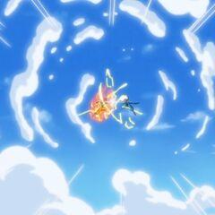 Сражение Супер Сайяна Бога Гоку и Бируса в облаках