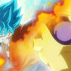 Супер Сайян Голубой Гоку в бою с Золотым Фризой