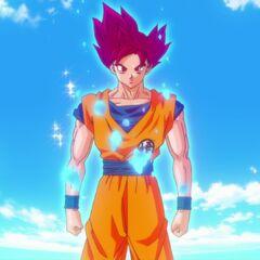 Гоку сразу после трансформации в Супер Сайяна Бога