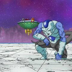 Фрост пытается подняться после ударов Супер Сайяна Гоку