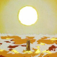 Аура Генки Дама Супер Сайяна уничтожила огромный кусок ледяного континента (кроме столба, на котором стоит 13-ый)