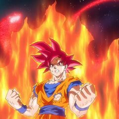 Аура и энергия Супер Сайяна Бога Гоку сформировались в дракона