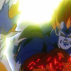 13-ый наносит удар по телу Гоку, но он упирается в Гоку как в стену, а кулак 13-го начинает разрушаться