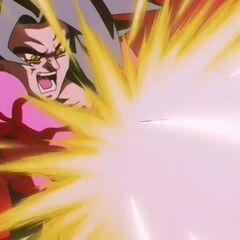 Супер Сайян 4 Гоку стреляет в Супер 17-го