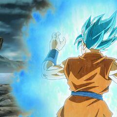 Супер Сайян Голубой Гоку в боевой стойке перед Золотым Фризой (2)