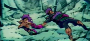 Paragus and his son attacked by king Vegeta