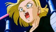 18 tries to stop Krillin from attacking Buu