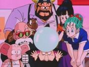 Bulma watching the battle on babas crystal ball