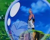 Kid buu standing in crystal ball