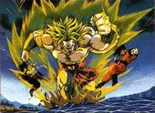Broly fighting gohan and goku