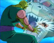 Kid goku performing his best move on king piccolo on sagas
