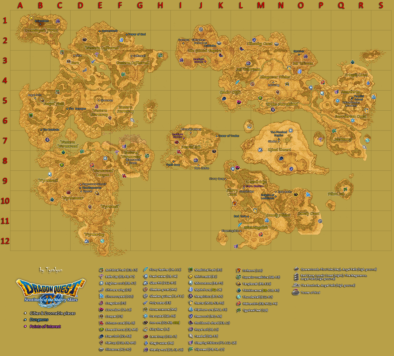 Map Of Material Locations In Dragon Quest Ix Dragon Quest Wiki