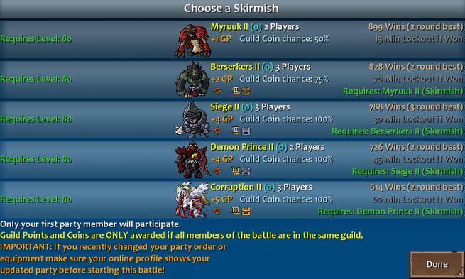 Skirmish menu