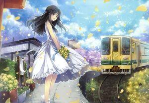 Dress flowers trains long hair outdoors black eyes open mouth flower petals anime girls black hair h wallpaperbeautiful 54
