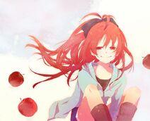 Redheads red eyes mahou shoujo madoka magica smiling sakura kyouko anime apples anime girls 1024x www.wall321.com 20
