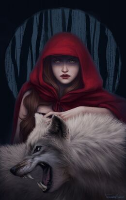 1006x1600 12886 Blood to bear me flowers 2d fantasy illustration red riding hood wolf girl picture image digital art