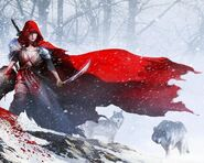 Wolf-and-little-red-riding-hood-hunter-animated-cartoonish-fantasy-art-warriors-248350