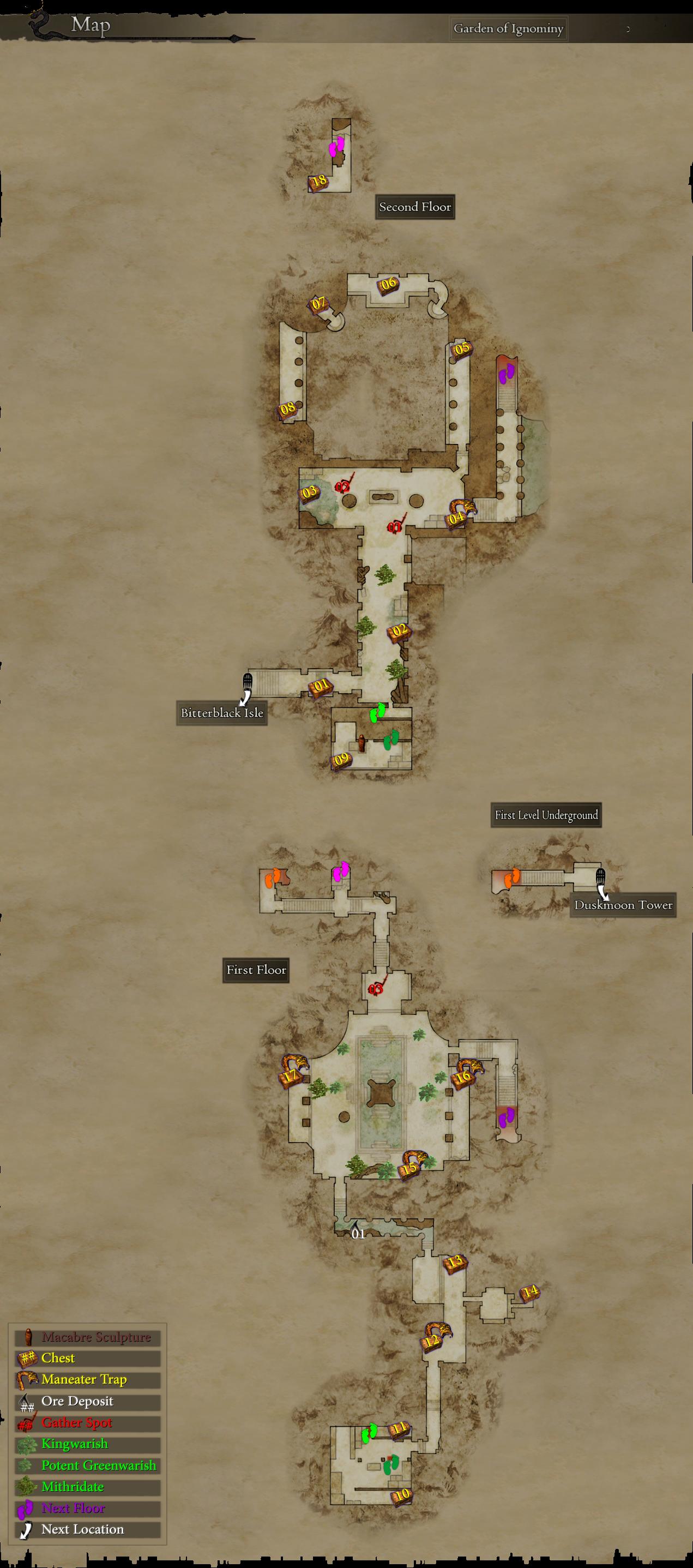 List of Garden of Ignominy Loot (Pre-Daimon) | Dragon's Dogma Wiki Dragon Dogma Full Map on