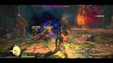 An Assassin demonstrating Masterful Kill vs Skeleton Brutes in the Rotunda of Dread
