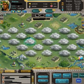 field of clouds. When clicked it just says Mysterious Cloud lvl 10. One cannot attack, spy or send a message.