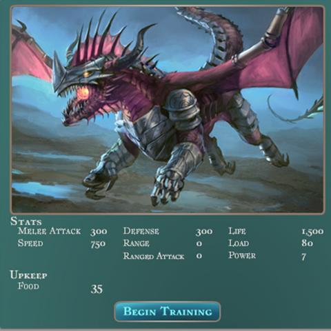 Battle Dragon Stats and Upkeep