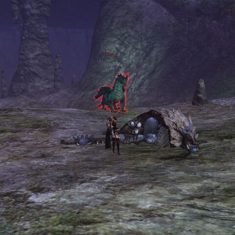 Ancient Shadow's new spawn location, no longer on the back ledge across the gap. Now spawns on the cliff behind the boss.