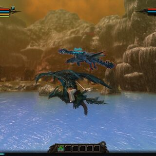 A player flying alongside Pale Radiance over Lake Krent