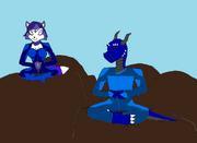 Tyler and krystal meditating by dandinofthebluefire-d5zzz4z