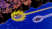 Trunks flies after Vegeta