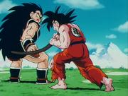 Goku Grabs the Tail of Raditz