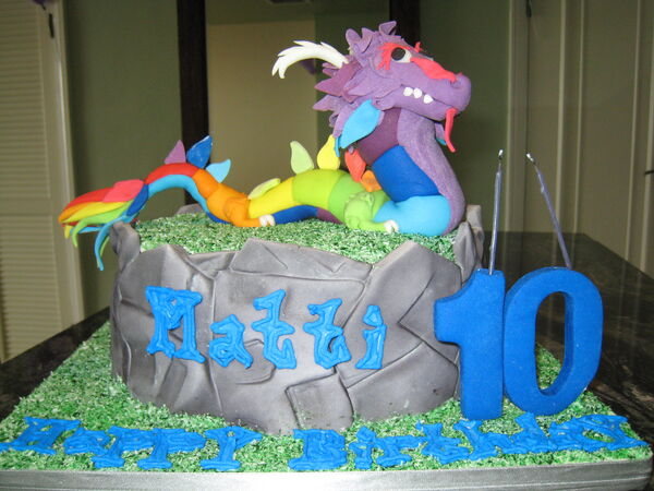 Rainbow Dragon Cake