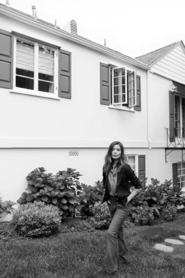 Walking at her house