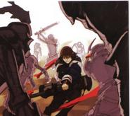 Arte conceptual de Caim luchando en tierra - Drakengard