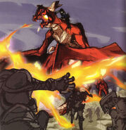 Arte de Caim y Angelus luchando en tierra - Drakengard