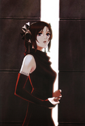 Artwork de Furiae con el vestido rojo - Drakengard