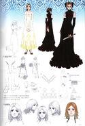 Artes conceptuales de Furiae con el vestido rojo - Drakengard