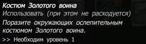Костюм Золотого воина